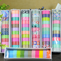 2016 New 12x Colorful Patterns Mixed Kawaii Japanese Washi Tapes Set 5M For Scrapbooking Stickers Cinta