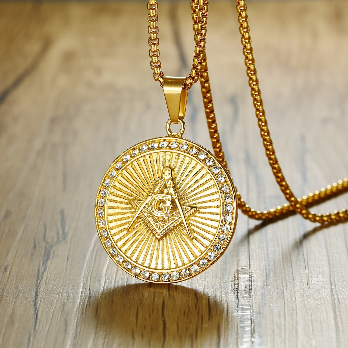 pattern pyramid mens medallion pin necklace gold clear chain ebay rope pendant