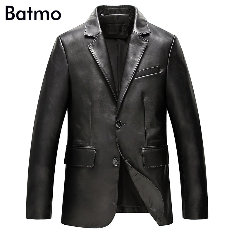 Batmo 2019 new arrival autumn high quality sheepskin real leather jackets men ,slim leather blazer men size L-4XL  ALWZM803 1