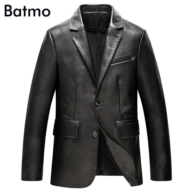 Batmo 2019 新着秋高品質羊革ジャケット男性、スリム革サイズ L 4XL ALWZM803  グループ上の メンズ服 からの 本革コート の中 1