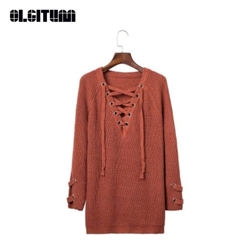 New 2020 Autumn Winter Sexy Lace Up Knitted Sweater Loose V-neck Long Sleeve Women Sweaters And Pullovers Outwear SW647