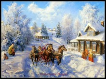 Embroidery Counted Cross Stitch Kits Needlework   Crafts 14 ct DMC Color DIY Arts Handmade Decor   Troika running on snow