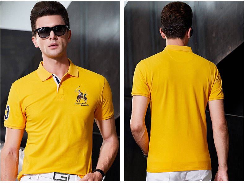 Fashion Summer Short Sleeve Solid Polo Shirt Men Cotton Print Slim Casual Polos Breathable Embroidery  Shirt Mens ClothingYP9099 27