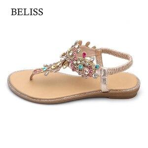 Image 2 - BELISS 2019 Wohnungen Frau Sandalen T Strap Mode Weibliche Schuhe Peep Toe Strass Sommer Wohnungen sandalen Flip Flops Frauen s66
