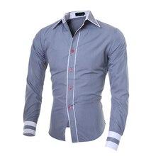 Мужская рубашка бренд хороший мужской рубашки высокого качества с длинными рукавами Толстовка Оверсайз на замке Slim Fit черные мужские рубашки 2XL C827
