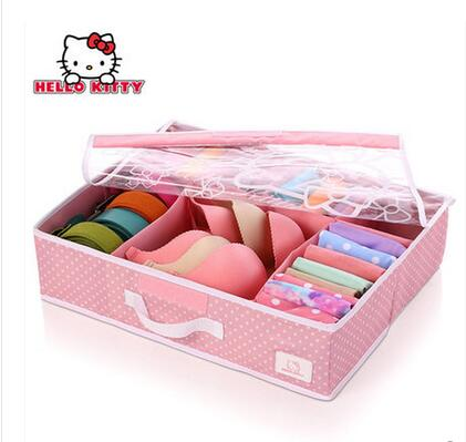 Merveilleux Good Quality Cartoon Hello Kitty Travel Bra Socks Underwear Storage Box  Organizador 1 Pcs