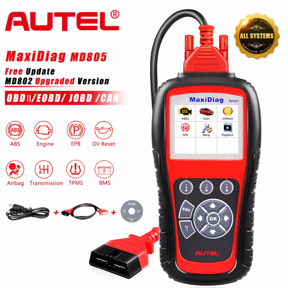Autel MaxiDiag MD805 (MD802 Full System) Code Reader OBD2 Diagnostic Tool Support OLS/EPB/transmission/Airbag +CAN OBDII