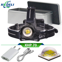 USB head lamp xhp70 headlight high power led head torch led headlamp 18650 rechargeable waterproof head lantern hunting camping
