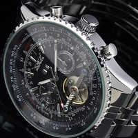 New JARAGAR Brand Big Face Three Dial Calendar Stainless Steel Tourbillon Automatic Mechanical Watches for Men Hodinky