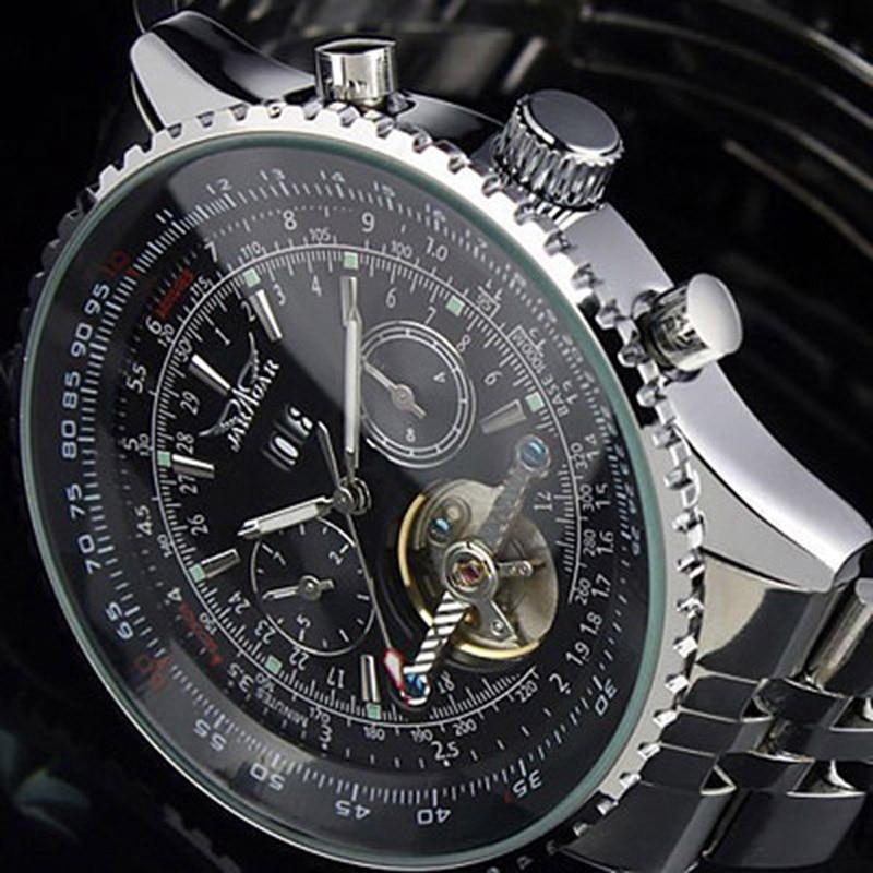 Nieuwe JARAGAR Merk Grote Gezicht Drie Wijzerplaat Kalender Rvs Tourbillon Automatische Mechanische Horloges voor Mannen Hodinky-in Mechanische Horloges van Horloges op  Groep 1