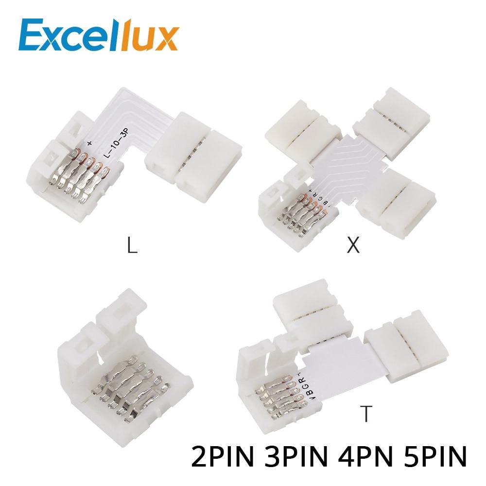 5 шт. 2-контактный, 3-контактный, 4-контактный, 5-контактный светодиодный разъем 10 мм L / T/X, угловой разъем для светодиодной ленты RGB RGBW RGBWW