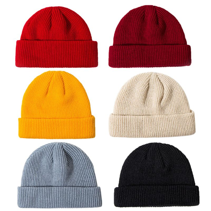 KLV Unisex Winter Ribbed Knitted Cuffed Short Melon Cap Solid Color Skullcap Beanie