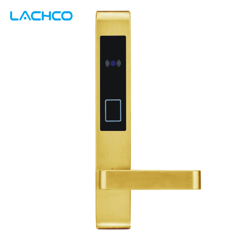 LACHCO Electric Door Lock Smart Electronic RFID Card For Hotel Office Apartment Door Lock  L16058SG lachco card hotel lock digital smart electronic rfid card for office apartment hotel room home latch with deadbolt l16058bs