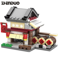 2017 KAZI 4 Models Chinese Culture Mini Chinatown Street View Ancient Architecture Kids Building Block Toys