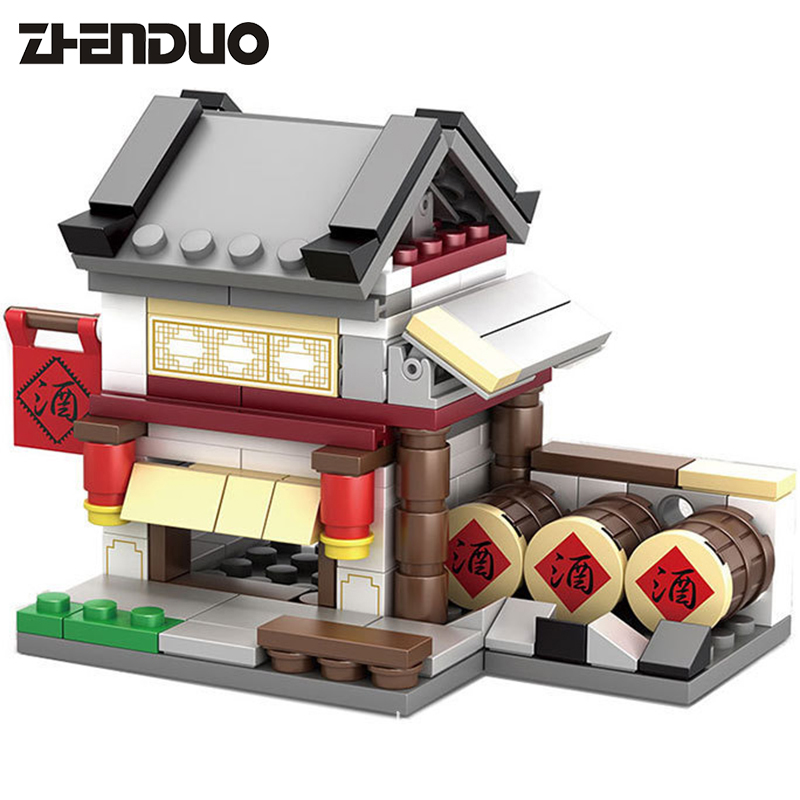 2017 KAZI 4 Models Chinese Culture Mini Chinatown Street View Ancient Architecture  Kids Building Block Toys with Box loz street view architecture building brick 303pcs