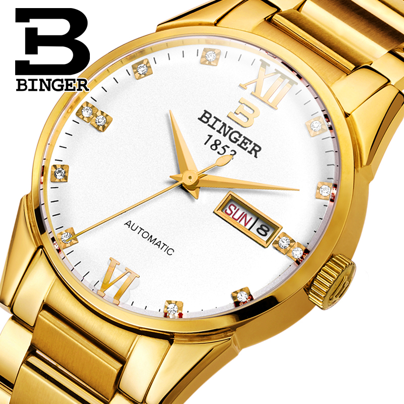Switzerland men's watch luxury brand Wristwatches BINGER 18K gold Automatic self-wind full stainless steel waterproof  B1128-6 switzerland men s watch luxury brand wristwatches binger luminous automatic self wind full stainless steel waterproof b106 2