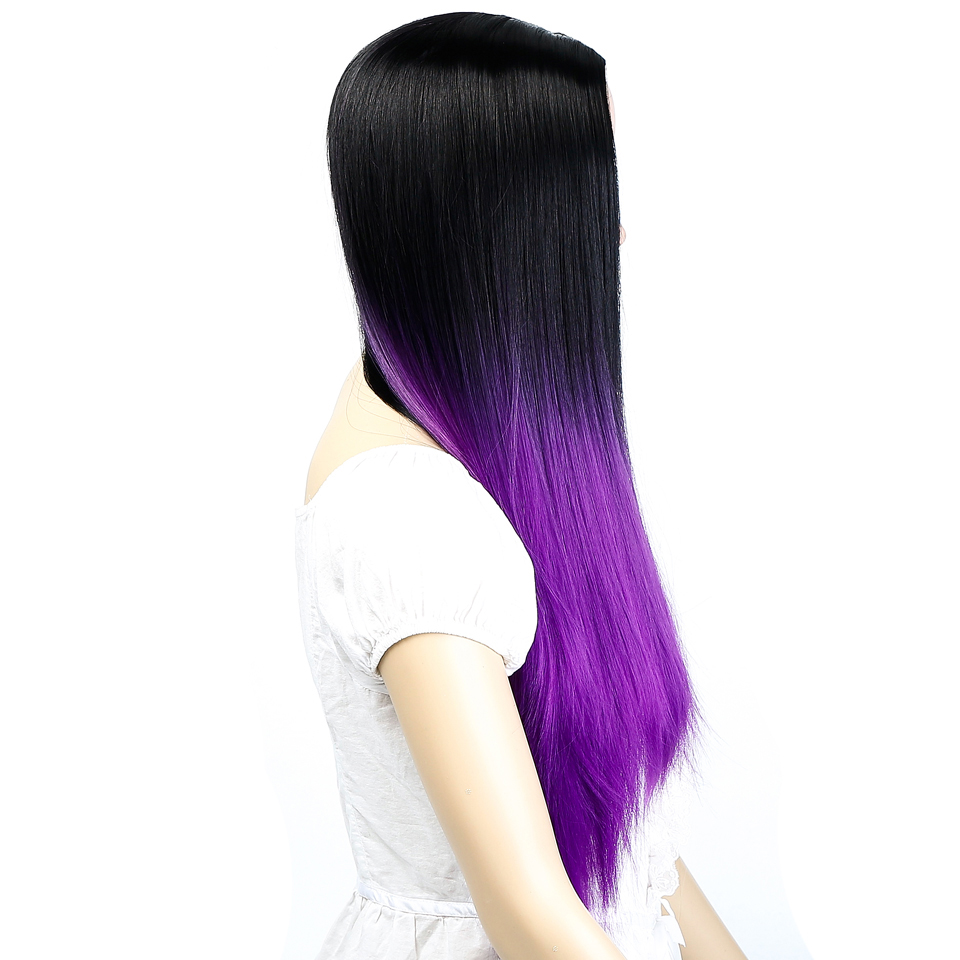 AOSIWIG Ombre Black Purple Long Straight Wigs Syntetisk Hår - Syntetiskt hår - Foto 4