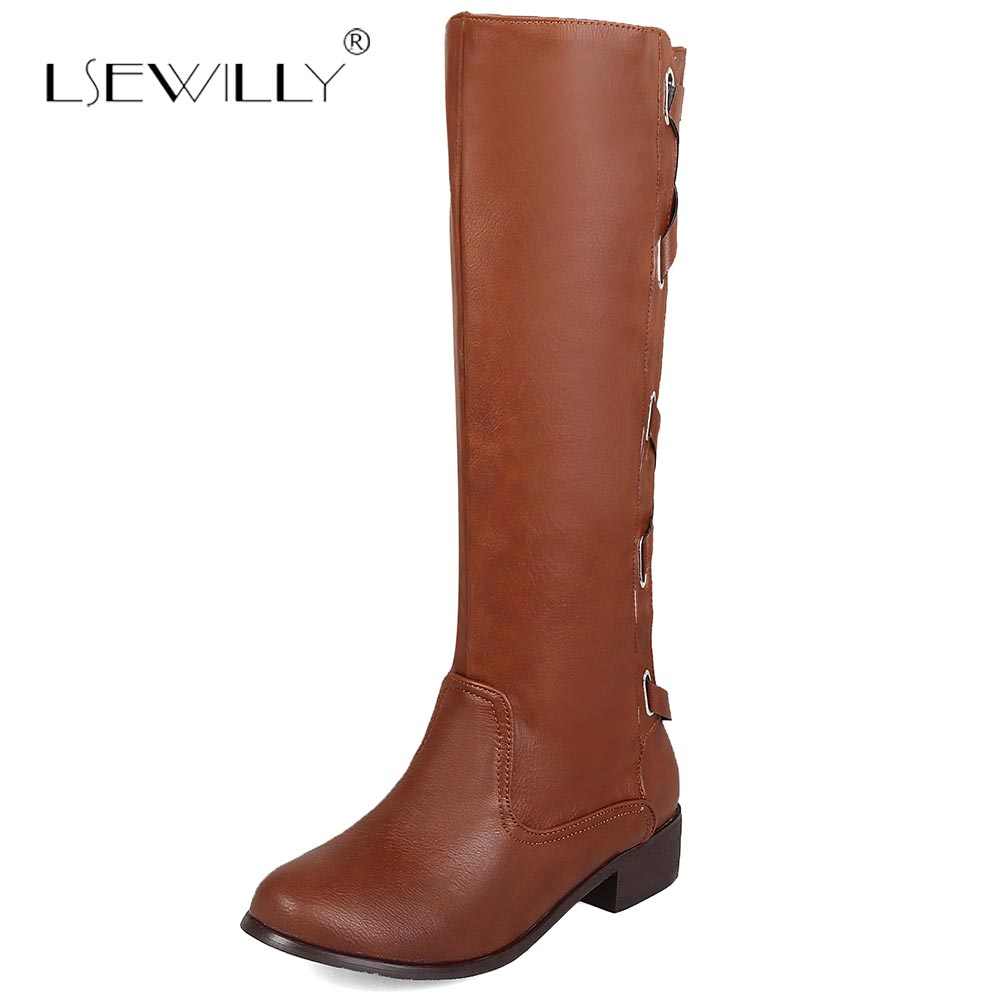 Lsewilly Winter Occident Cross Strap Buckle Gladiator Mid Calf Knight Boots Chunky Heel Ladies Riding Boots Shoes Brown E201