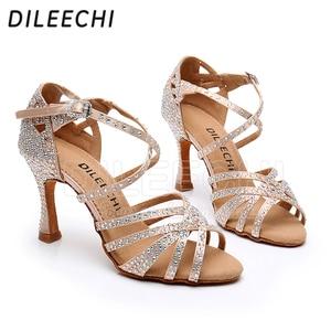 Image 4 - DILEECHI Latin Dance รองเท้าขนาดเล็ก rhinestone Shining Bronze ผิวซาตินสีดำผู้หญิง Salsa PARTY Ballroom รองเท้าคิวบา 9 ซม. ส้นเท้า