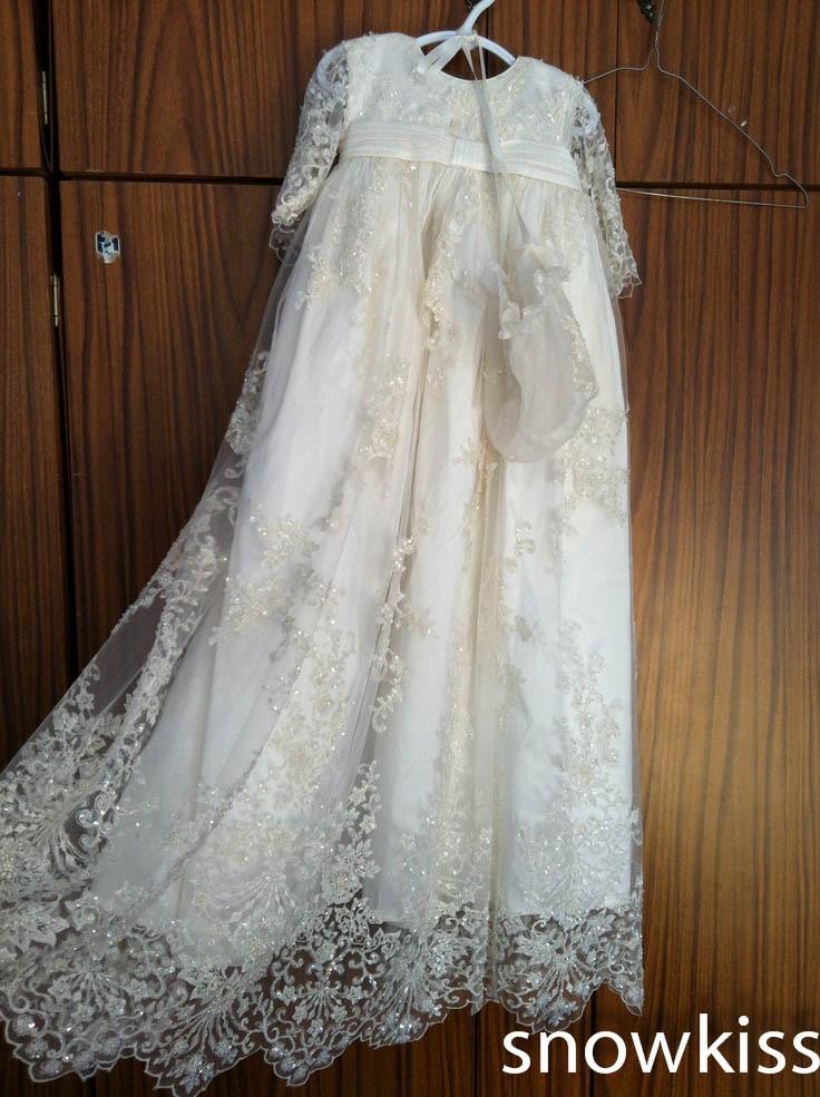 Superbe dentelle perlée bébé fille blanc/ivoire première Communion robes robe de baptême robe de baptême avec Bonnet