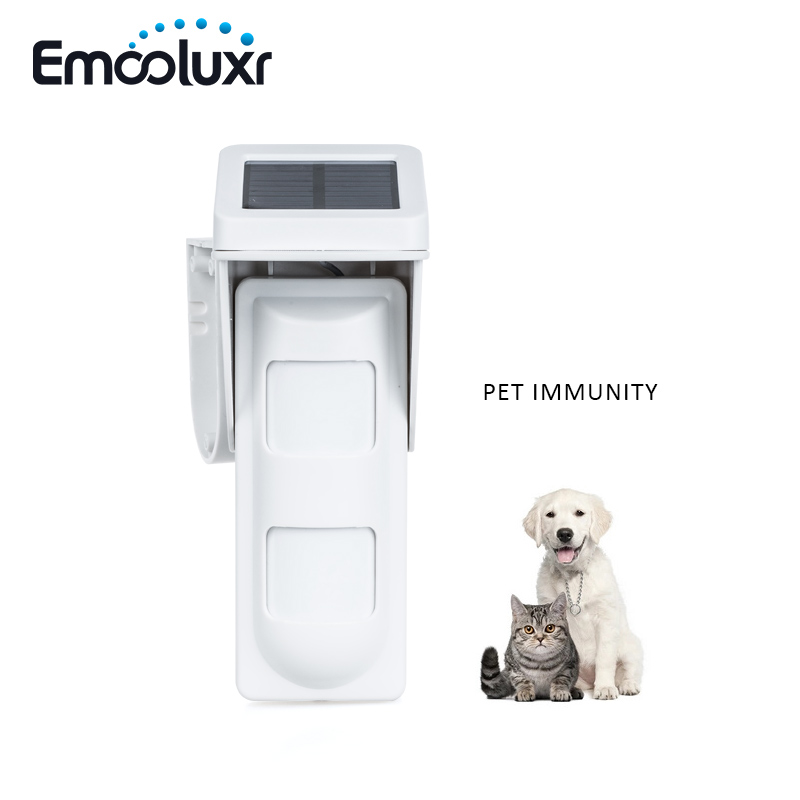 Solar Powered Outdoor Pet Friendly Motion Sensor PIR Detector for wifi GSM alarm G90B Security Alarme System,Free Shipping fuers wifi gsm sms home alarm system security alarm new wireless pet friendly pir motion detector waterproof strobe siren