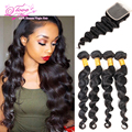 Ali Moda Hair Malaysian Loose Wave With Closure Human Hair Loose Wave With Closure 4 Bundle With Closure 7a Ms Cat Hair On Sale