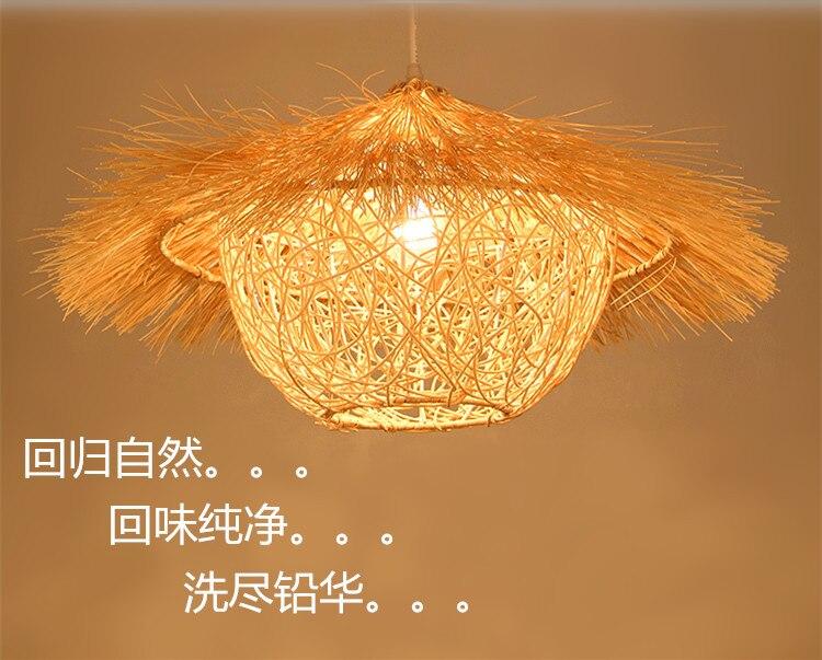 TUDA 30X50cm Rattan Pendant Lights Wicker Hand Woven Rattan Garden Lamp Bedroom Lamp Cord Pendant Hand Knitted Pendant Light