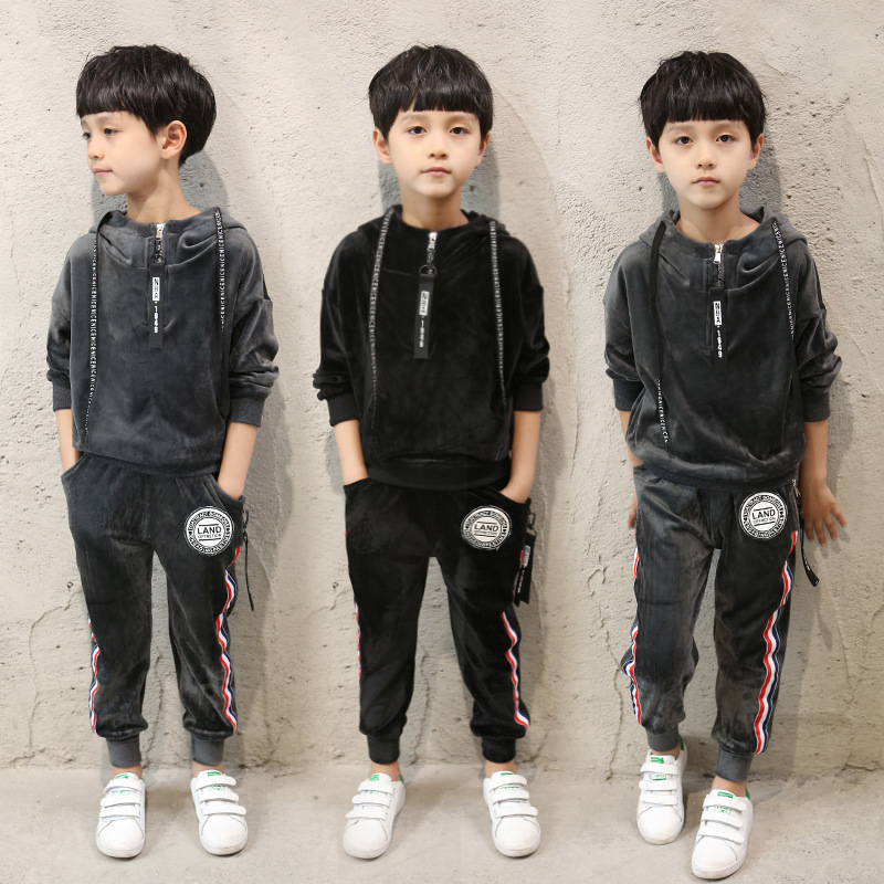 2018 spring new boy leisure suit large children personality gold velvet labeling two-piece sets tide clothing for boys 3-14 year free shipping new arrival children clothing set spring autumn sport suit two pieces suit boy leisure suit