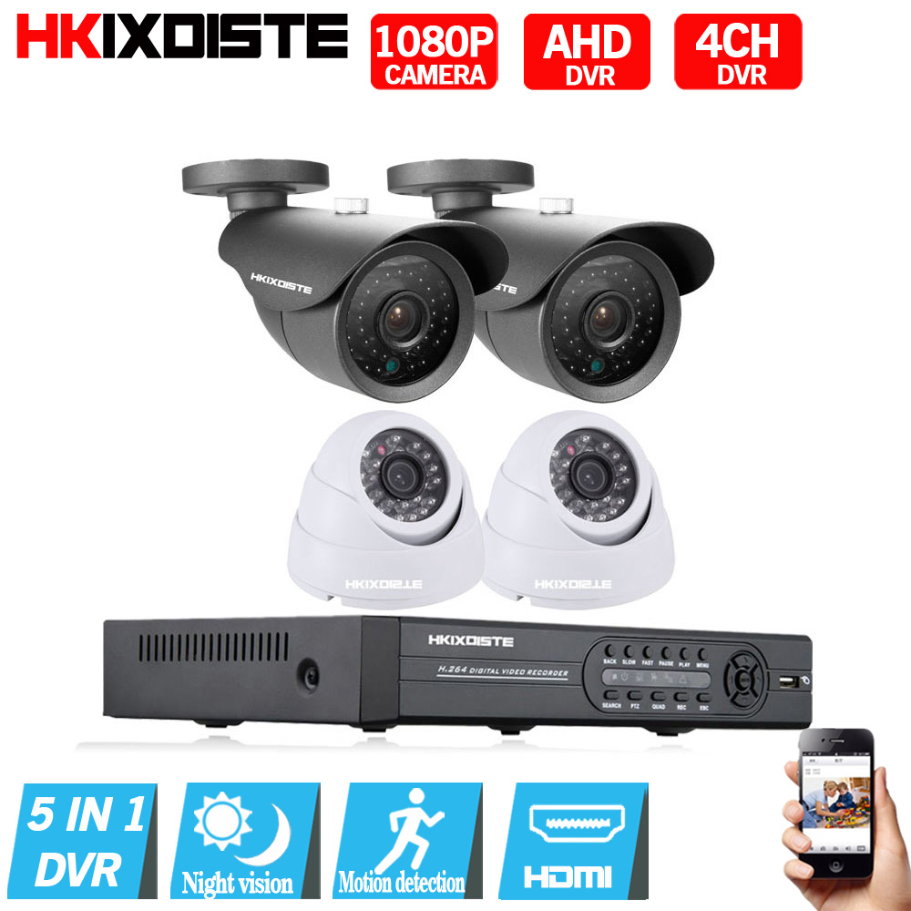 Security Camera System 8ch CCTV System 4 x 1080P CCTV Camera 2.0MP Camera Surveillance S ...