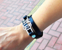 Stack Leather Wrap Bracelet Custom Silver Monogram Charm Personalized Men Bracelet Design BFF Jewelry