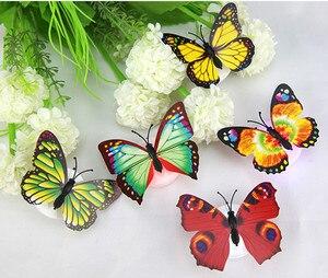 Image 2 - 10 ピース子供ルームカラフルな蝶 Led ナイトライトランプホームロマンチックな寝室パーティーデスク壁の装飾夜の光