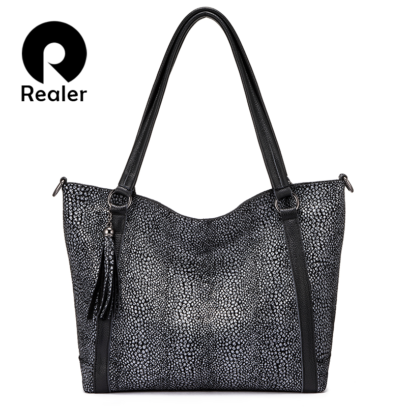 REALER genuine leather shoulder bag tassel handbags women bags designer Hobo bag tote fashion ladies bags