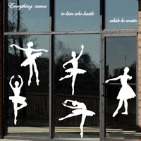 Real New Ballet Dance Music And Art Wall Bedroom Pegatinas For Kids Rooms Sticker Window Silhouette