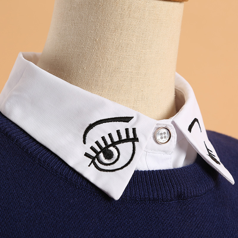 YSMILE Y Korean Style Decoration Collar Female Cotton Wild Shirt Fake Collar Embroidery Eyes Eyelash White Casual Fake Collar