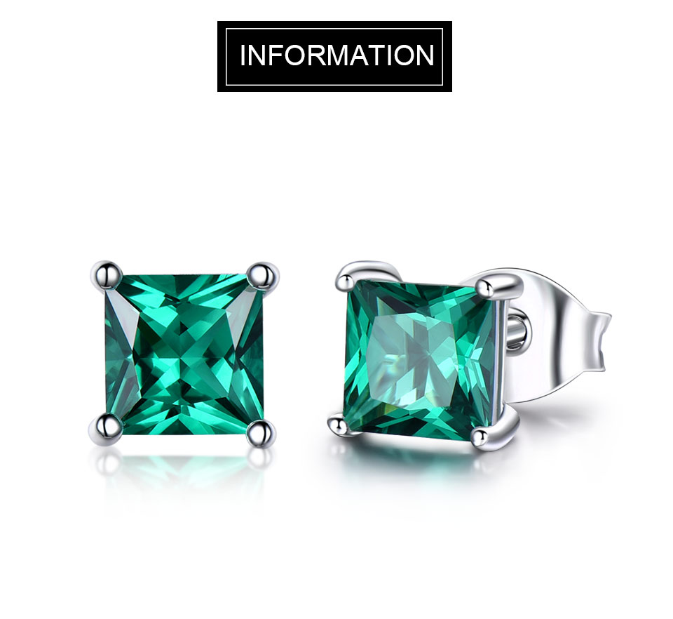 b1f0cf3889e61 925 Sterling Silver Emerald Stud Earrings for Women Princess-cut Gemstone  Birthstone Fashion Korea Earrings Jewelry