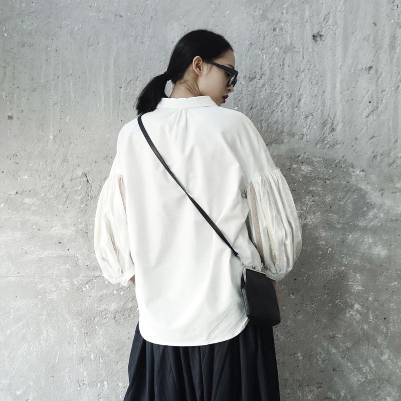 Automne Je82000s Wkoud Blouse Long Eam2018 Shirt Femmes Marée Lanterne Nouvelle D'été Fendue Commune Manches Revers Mode Fold White Blanc Lâche UZEUCqW