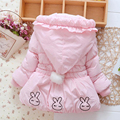 New 2017 Winter kids baby snowsuit Rabbit Cartoon baby girl snowsuit Hooded Warm baby girl clothes snowsuits