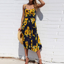 Summer Beach Sunflower Dress 2019 Long Casual Floral Dresses Womens Sexy Plus Size Clothing