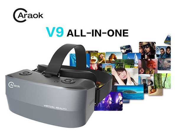 Caraok V9 All-in-One Virtual Reality 3D Glasses with 1.2GHz Allwinner A33 Quad Core Support Wifi OTG F19628