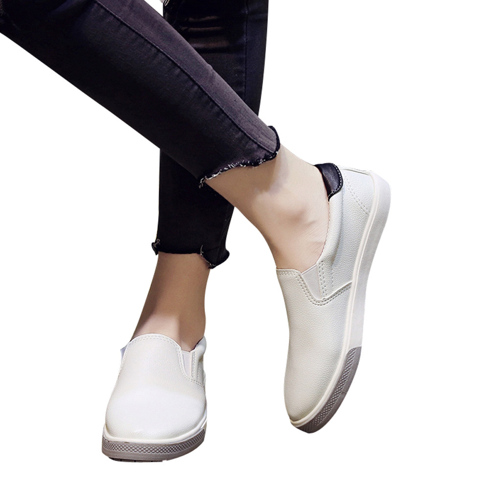2018 Spring Women Leather Loafers Fashion ballet Round Toe Platform Flat Shoes Woman Slip On loafers boat shoes