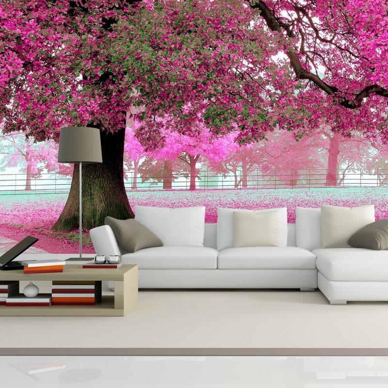 Custom Photo Wall Paper 3D Romantic Cherry Tree TV Background Home Wallpaper Decor Living Room ...
