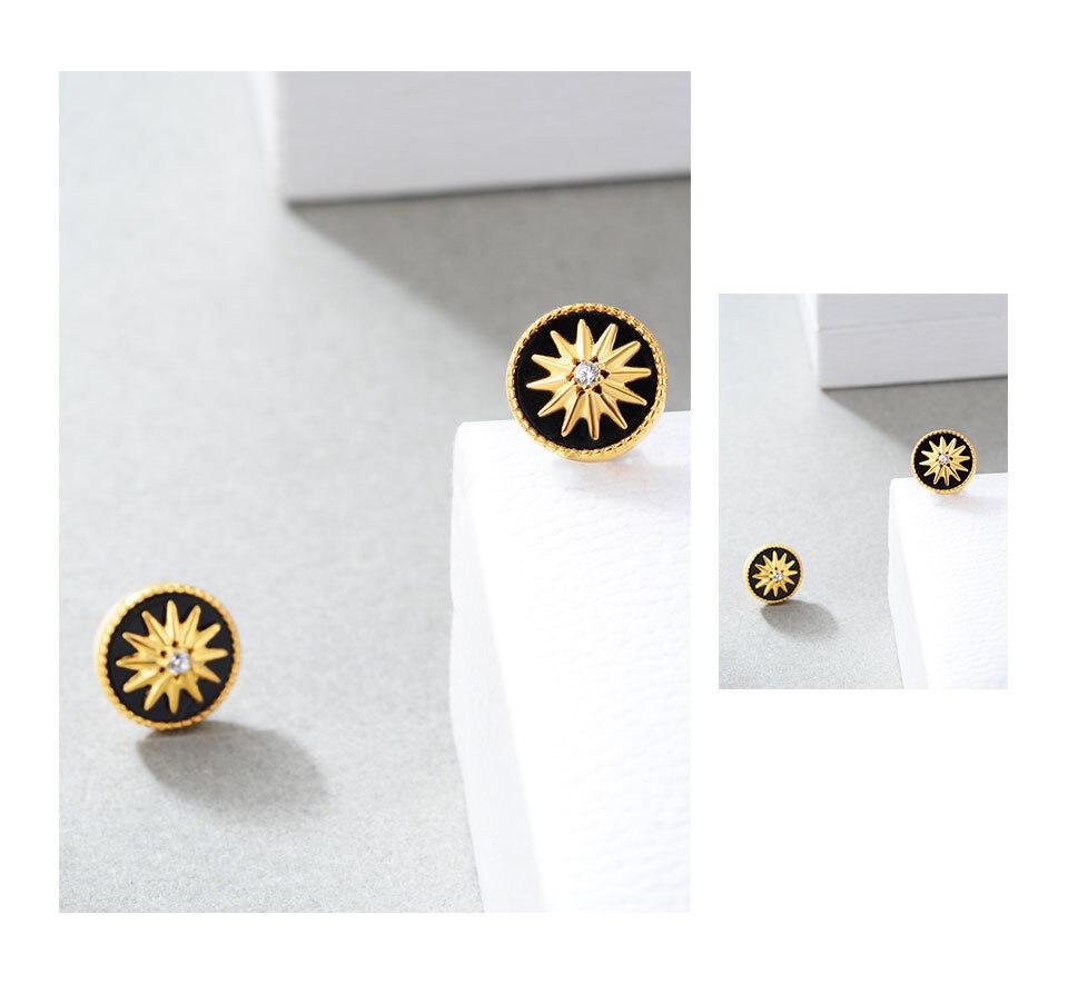 HTB1PXwTelWD3KVjSZFsq6AqkpXaD 18K Gold Plated 925 Sterling Silver Star Stud Earrings for Women Black Agate  Gemstones Silver 925 Korean Studs Earings 2019