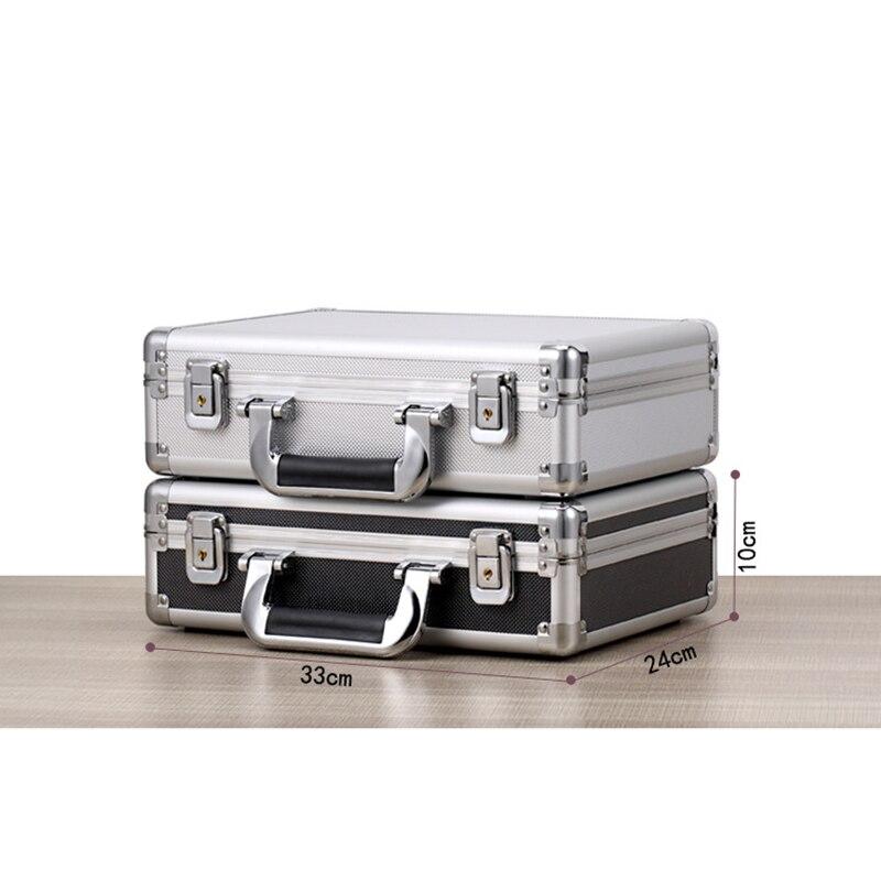 330*240*100mm Portable Lock Box Aluminum Alloy Toolbox Document Insurance Household Storage Box Metal Box With Lock Trumpet
