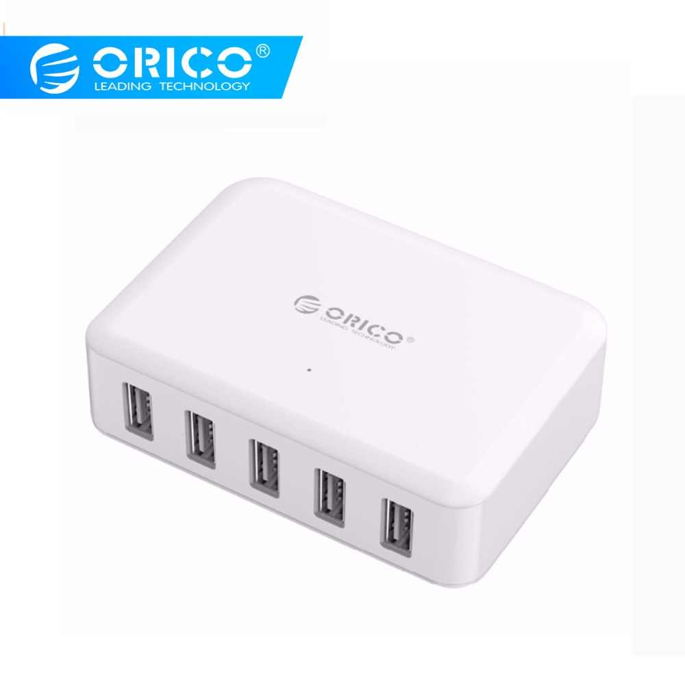 Orico 5 Port USB Charger ABS 5V 8A 40W Mobail Ponsel Tablet Adaptor untuk iPhone X 5 6 7 Galaxy S7 Xiaomi Huawei 5 Ponsel Charger