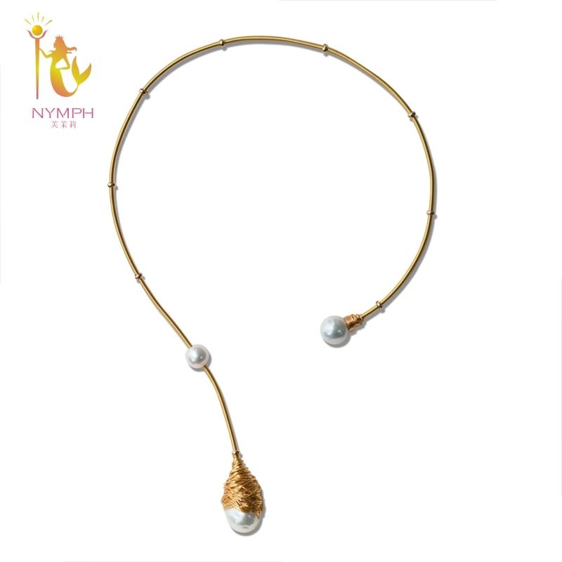 [NYMPHE] Baroque Perle Couples Collier bijoux fins Réel Perle grosse perle collier pour femmes À La Mode De Mariage Parti Bijoux X319