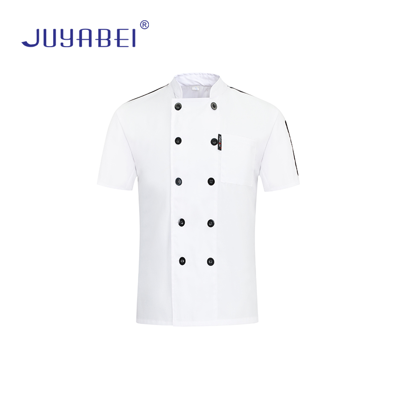 Unisex Breathable Double Breasted Chef Short Sleeve Jacket Gourmet Service Chef Uniform Restaurant Waiter Special Workwear