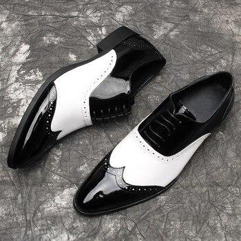 Vintage Brogue Carved Shoes for men Flat heel Genuine leather Fashion Hot Mens Formal Business Shoes