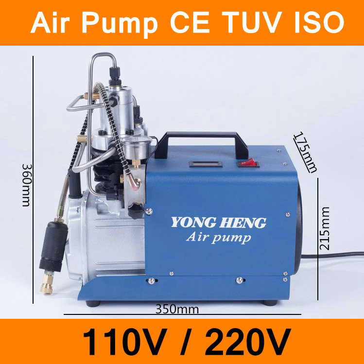 High Pressure Air Pump 110V 220V 300BAR 30MPA 4500PSI Electric Air Compressor for Pneumatic Airgun Scuba Rifle PCP Inflator CE yongheng 300bar 30mpa 4500psi high pressure air pump electric air compressor for pneumatic airgun scuba rifle pcp inflator