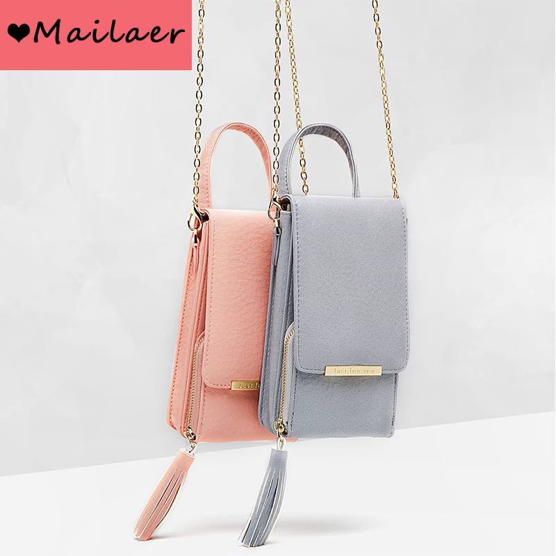 MAILAER 2019 New Ms. Shoulder Bag Messenger Chain Mobile Phone Bag Fashion Tassel Mobile Purse Bag(China)