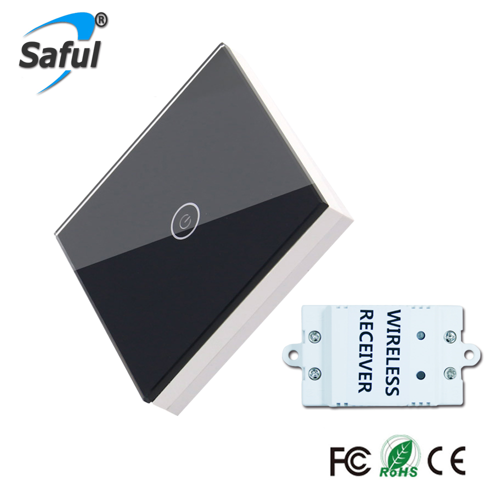Saful Wireless Switch  Luxury Crystal Glass 1 Gang 1 Way  Remote  Switch Touch Screen For Smart Home LED Light Free Shipping 2017 free shipping smart wall switch crystal glass panel switch us 2 gang remote control touch switch wall light switch for led